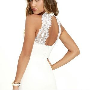 White Bodycon Dress with Lace Back